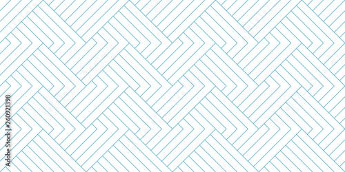Fotografie, Tablou Abstract geometric line pattern seamless blue diagonal line on white background