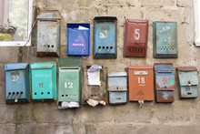Old Rusty Mailboxes In A Communal House (translation Is: Post, For Letters And Newspapers, Postbox)