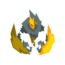 Fantasy Mystic Fire Stone Elemental Monster Creature Vector Illustration