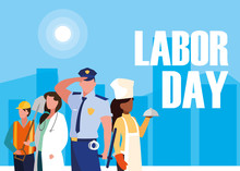 Labour Day With Group Professionals And Cityscape