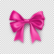 Pink Ribbon Bow With Shadow Isolated On Transparent Background. Realistic Decoration For Holidays Events. Beautiful Decor Object From Silk Vector Illustration. Christmas Or Birthday Decoration