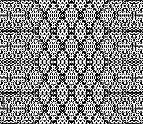 Floral vector black and white ornament. Seamless abstract classic background ...