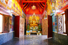 Buddha Statue In Phutthanimit Bureau Of Monks, The Thai  Traditional And Public Temple In Contry Side Of Nakhon Phanom Province And Tha Uthen District In Thailand
