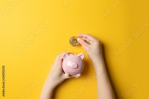 Canvastavla  Bitcoins, currency and piggy bank