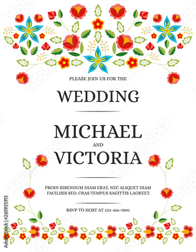 Tablou Canvas Traditional wedding invite card template vector