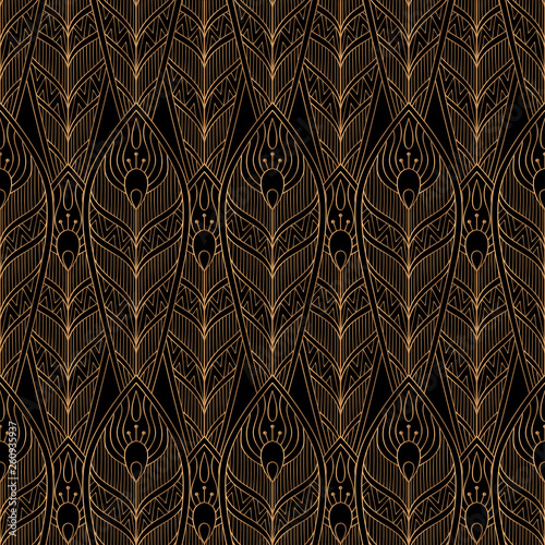 Peacock Feathers Royal Pattern Seamless Luxury Background