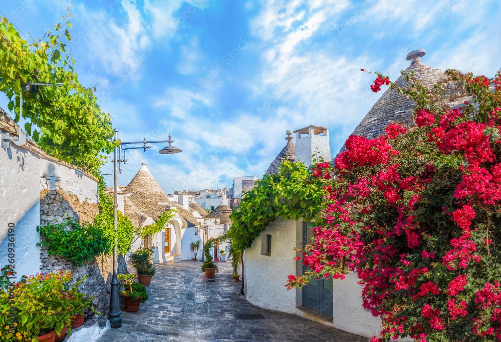 Fototapeta Trulli houses in Alberobello city, Apulia, Italy.