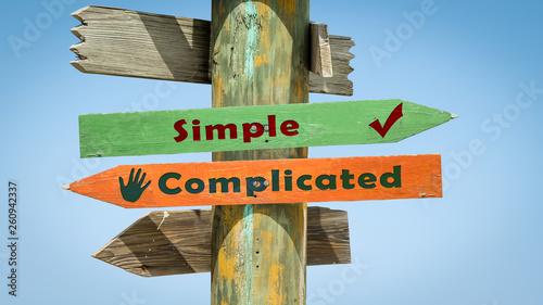 Fotografie, Obraz  Street Sign Simple versus Complicated
