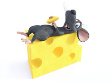 3D Rendering Of A Smiling Cartoon Mouse Lying On Cheese.