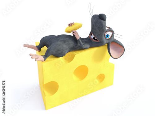 Renderowania 3D uśmiechnięta mysz kreskówki leżącego na serze.
