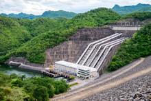 Dam Srinakarin Power Plant On Hill At Kanchanaburi