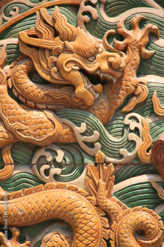 Fotografering bas-relief with a dragon in beijing (china)