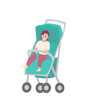 Child sitting in stroller isolated cartoon baby. Toddler in walking carriage, vector young kid in strap. Perambulator transportation item for infants