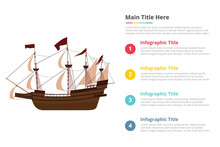 Old Big Ship Infographics Template With 4 Points Of Free Space Text Description - Vector