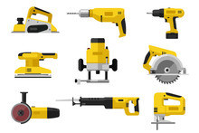 Power Tools. Yellow Electric Industrial Tools. Flat Illustrations Of Saws, Drill Planer Grinders Screwdriver.