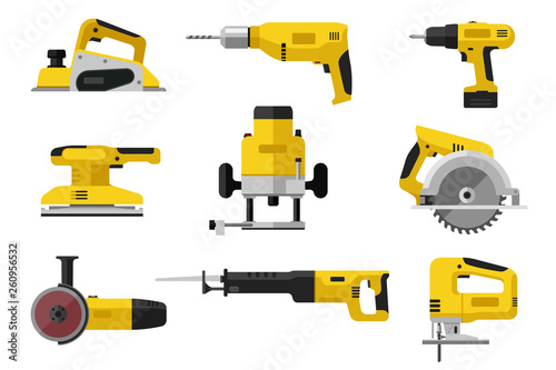 Obraz Power tools. Yellow electric industrial tools. Flat illustrations of saws, drill planer grinders screwdriver. - fototapety do salonu