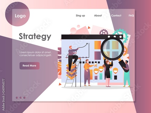 Photo  Strategy vector website landing page design template
