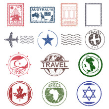 Travel And Post Stamps Vector ...