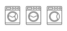 Washing Machine Vector Icon.