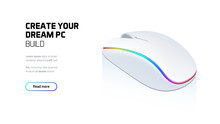Computer RGB Gaming Mouse 3d Realistic Isometric Illustration, Personal Computer Hardware Components, Custom Gaming And Workstation Accessories, Pc Store And Service