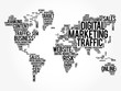 Digital Marketing word cloud in shape of world map, business concept background