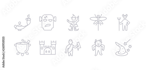 Simple Gray 10 Vector Icons Set Such As Wizard Yeti Zeus