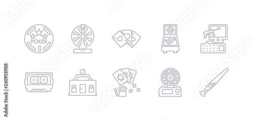 simple gray 10 vector icons set such as lightsaber, lottery game