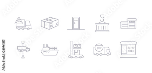Fényképezés  simple gray 10 vector icons set such as duty free, delivery date, package on trolley, ocean transportation, supply chain, hangar, container hanging