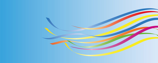 colorful maypole ribbons in blue sky vector illustration EPS10