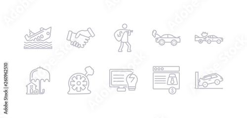 Photo  simple gray 10 vector icons set such as parking crash, payment protection, problem electric, puncture in a wheel, real estate insurance, rear end collision, repair