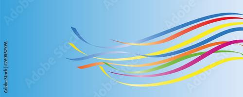 colorful maypole ribbons in blue sky vector illustration EPS10 - fototapety na wymiar