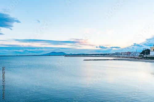 Paisaje marino con nubes. Delta del Ebro Canvas Print