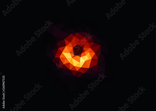 First ever blackhole image realeased lowpoly. Vector. Canvas Print