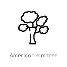 Outline American Elm Tree Vector Icon. Isolated Black Simple Line Element Illustration From Nature Concept. Editable Vector Stroke American Elm Tree Icon On White Background