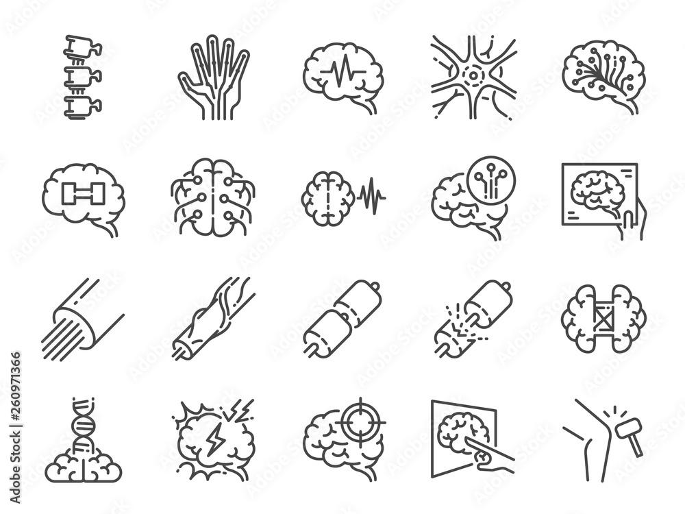 Fototapeta Neurology line icon set. Included icons as neurological, neurologist, brain, nervous system, nerves and more.