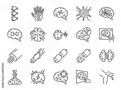 Fototapeta Neurology line icon set. Included icons as neurological, neurologist, brain, nervous system, nerves and more. obraz