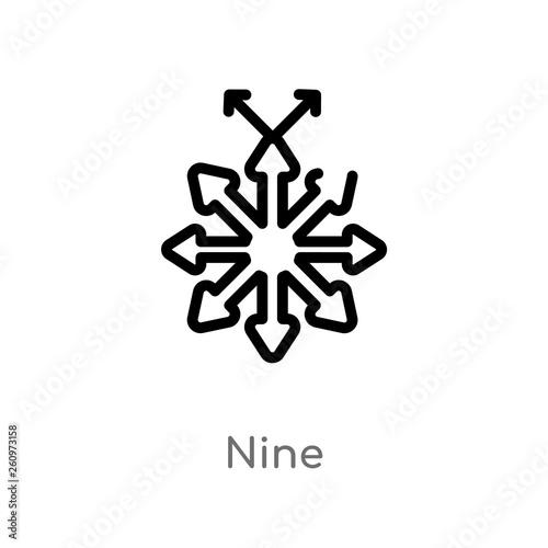 Fotografia  outline nine vector icon