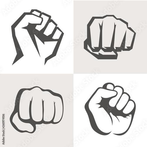 Fotografie, Obraz Vector hands icon set. Different fist signs.