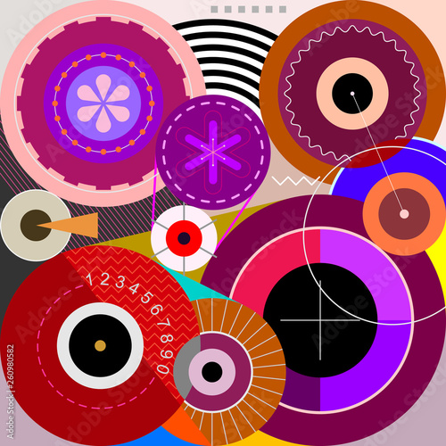 Wheels abstract art vector illustration