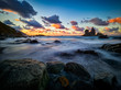 Beautiful Benijo beach, Anaga, Tenerife, Canary Islands at sunset