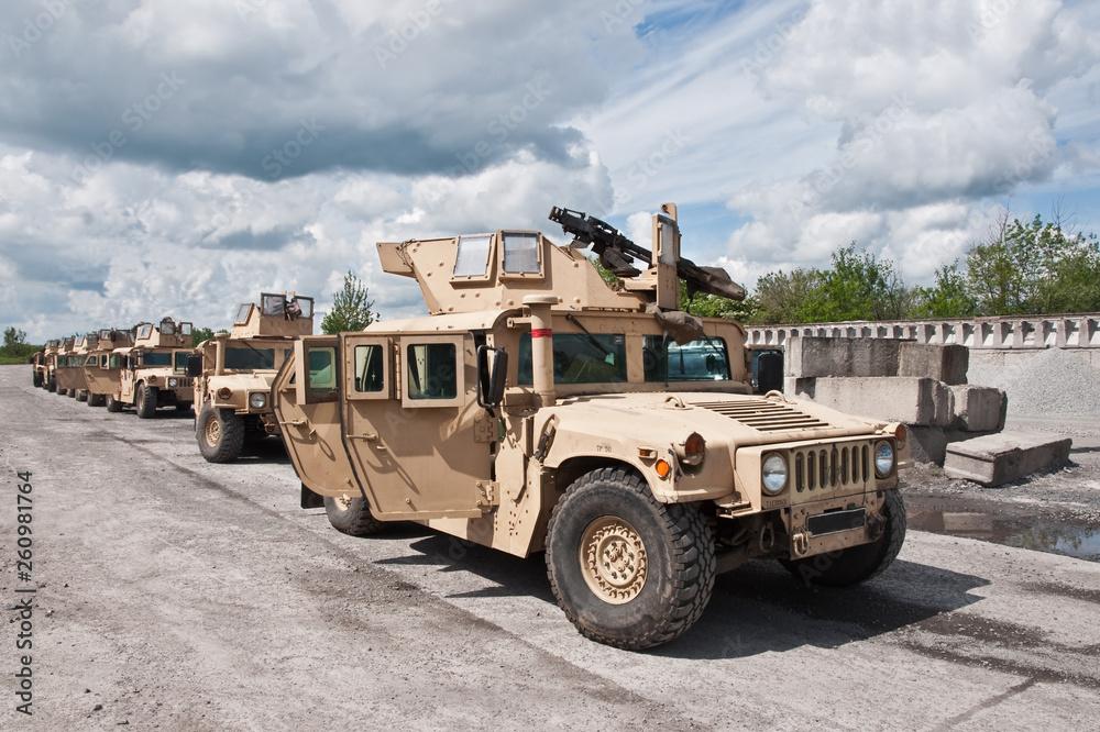 Fototapeta convoy of armored vehicle Ukrainian army