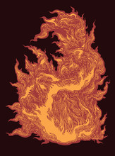 Tongue Of Fire. Hand Drawn Eng...
