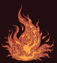 Tongue Of Fire. Hand Drawn Engraving. Editable Vector Vintage Illustration. Isolated On Dark Background. 8 EPS