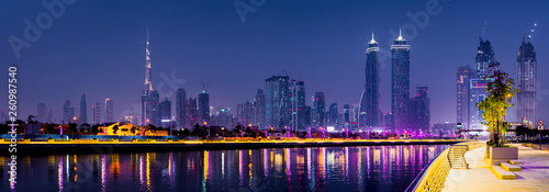 Fotografie, Obraz  Panoramic view of Dubai at night