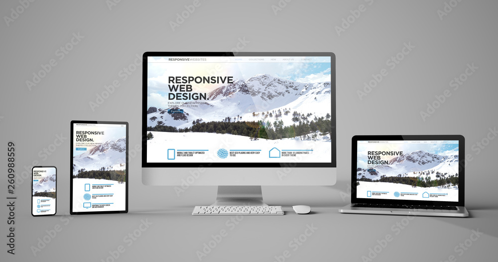 Fototapety, obrazy: responsive devices isolated responsive design homepage mountain