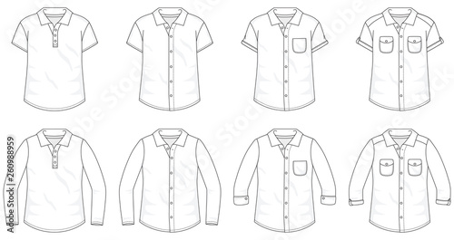 Billede på lærred Set of Shirts Button up Blouses fashion stylish t-shirt polo collection template