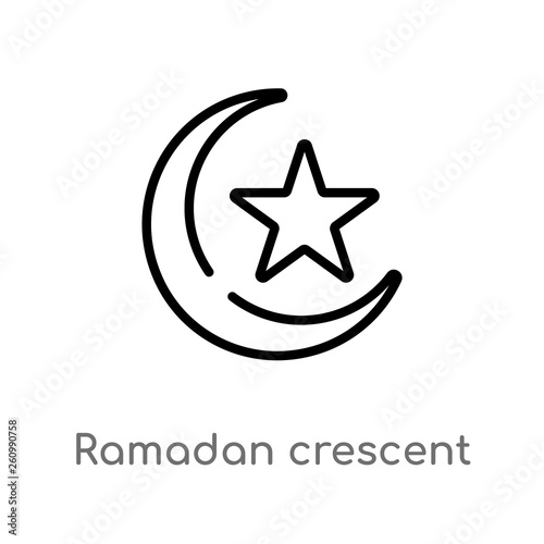 outline ramadan crescent moon vector icon isolated black simple line element illustration from religion 2 concept editable vector stroke ramadan crescent moon icon on white background buy this stock vector and explore outline ramadan crescent moon vector