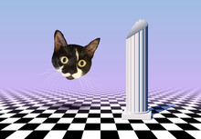 Vaporwave Styled Landscape With Checkered Floor, Ancient Column And Cat Head