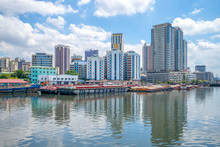 Skyline Of Manila By Pasig River In Philippines