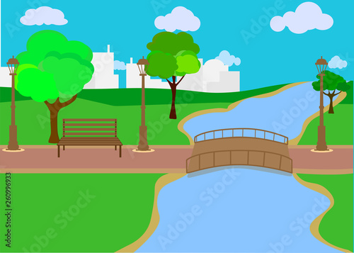 Canvas Prints River, lake Background of city park in spring with trees, bushes and bench.